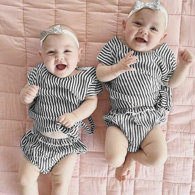 2019 New Autumn Baby Girl Clothes Set stripe Cotton T-shirt+ Pants Infant Clothes Newborn Baby Clothing Set