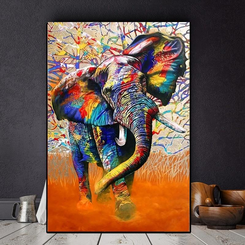 2020 Abstract Wall Art Colorful African Elephant Canvas ...