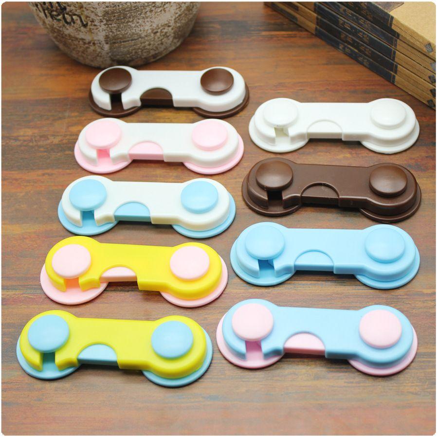 16 colores Cerradura de gabinete de plástico Niños Seguridad Protección del bebé de los niños Cerraduras seguras para refrigeradores Cajones de seguridad de bebé Z0007