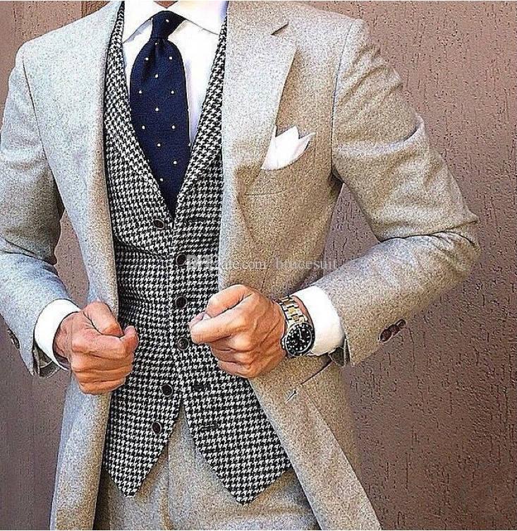 Airtailors Black Houndstooth Tweed Vest Thick Men's Suit Vest for Autumn Winter Slim fit Groom's Wear Vests Woolen Cloth Men's Dress Vests