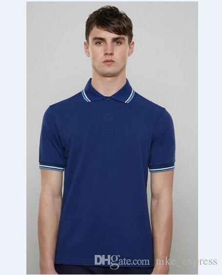 Homens 2020 Camisa pólo clássica Summer manga curta sólida Inglaterra Casual 100% Algodão Londres Designer Fino T-shirt Tops Moda Polos