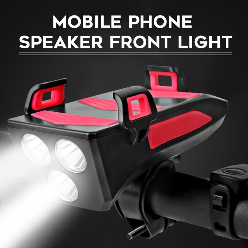 Multi-função de luz de bicicleta USB recarregável 4 em 1 LED bicicleta farol bicicleta chifre Phone Holder powerbank Luz Led