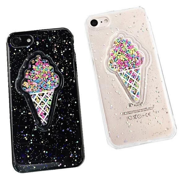 Dinamik 3D Yaz dondurma glitter telefon Kılıfları Gökkuşağı Pul TPU kapak iphone XS Max XR 8 7 6 S 6 Artı