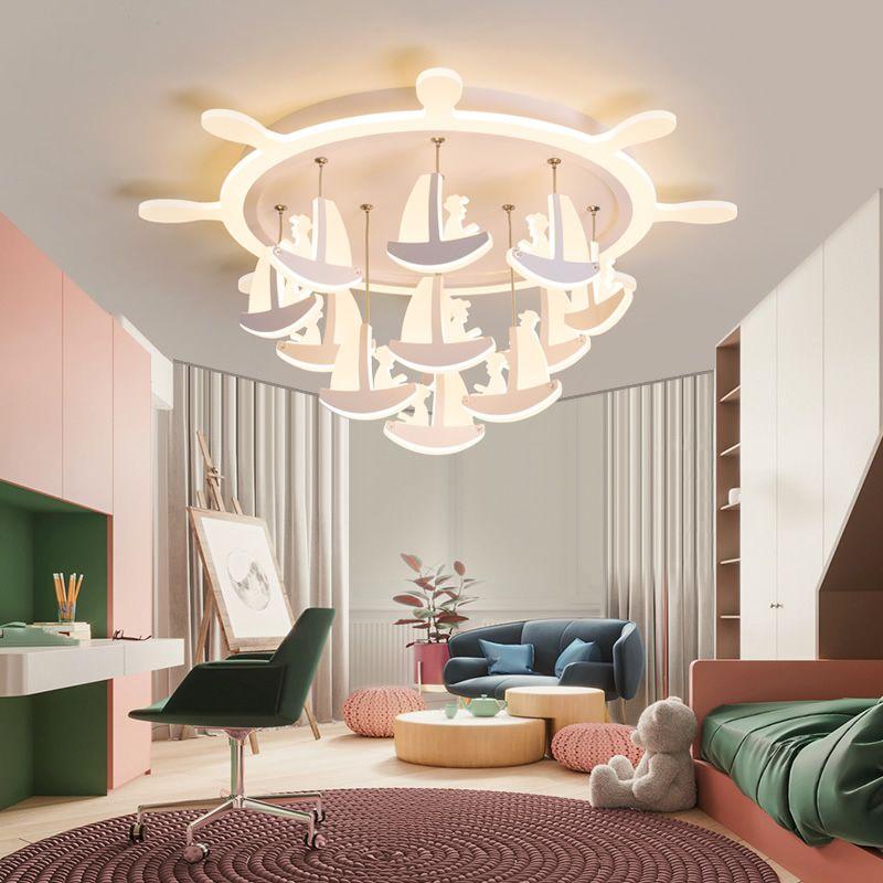 Kronleuchter für Wohnzimmer Schlafzimmer Acryl Boot Form Deckenleuchter Lichter für Baby Kinderzimmer Jungen Mädchen Beleuchtung