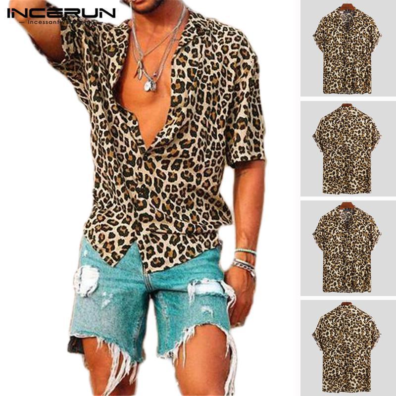 Summer manga curta Leopard Print shirt Men lapela do pescoço solto Up Blusa respirável Streetwear Sexy Shirts Homens INCERUN 2019