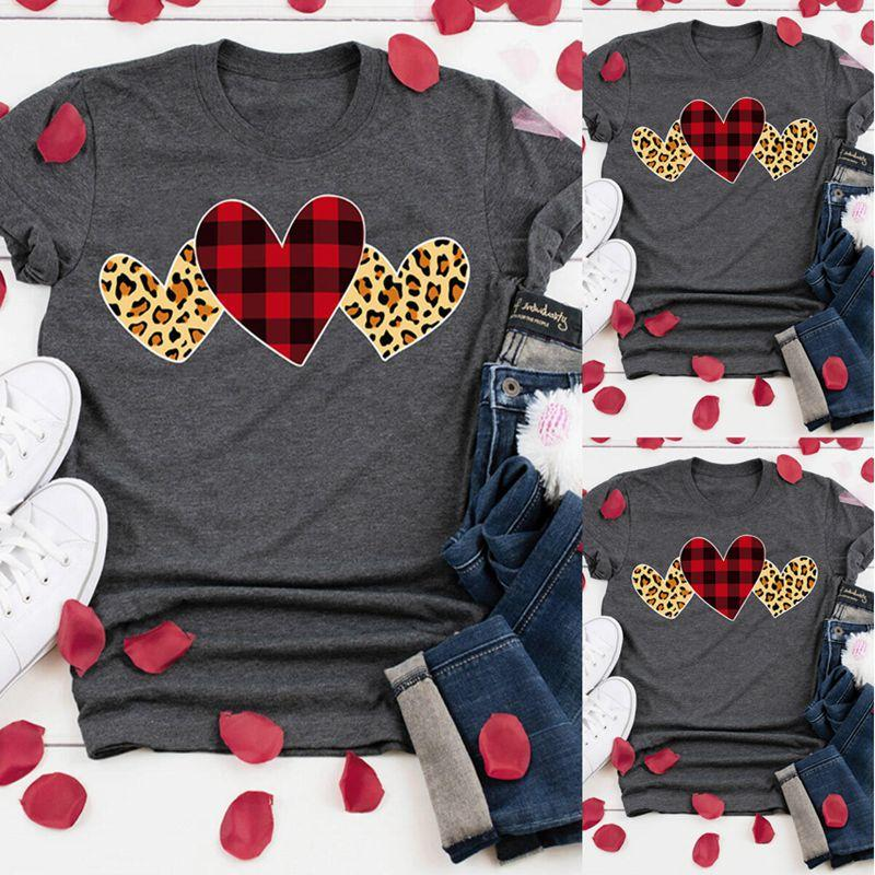 Heart Print Valentines Day Shirts for Women Red Love Graphic Short Sleeve Tee Top