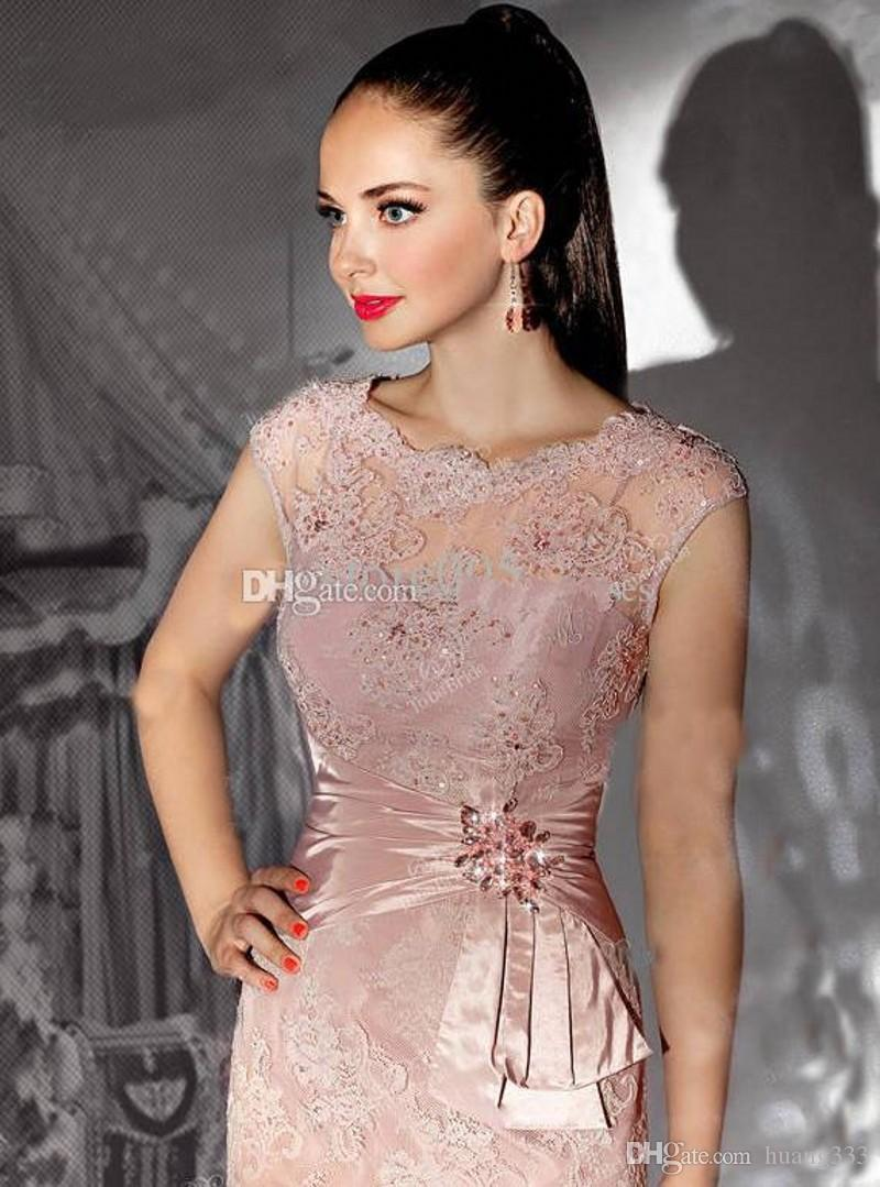 2019 New Sexy Illusion Mother Dress Knee Length Lace Appliques Beaded Evening Dresses Mother of the bride Dresses For Free Shipping