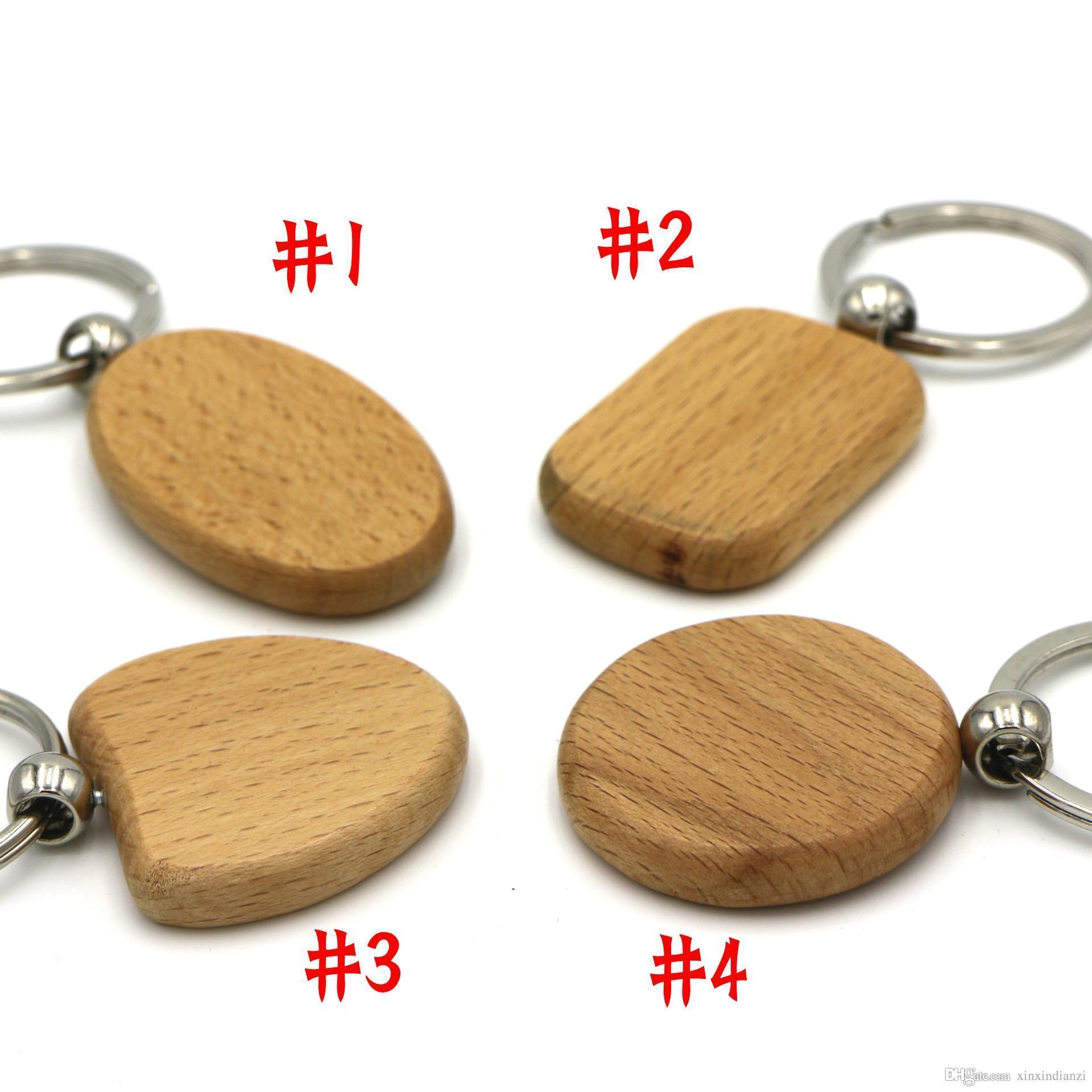 Freies DHL-Hauptdekoration Blank Personalisierte Holz Schlüsselanhänger DIY OEM Laser Logo Holzschlüsselanhänger Oval Rund Quadrat Herz-Form-E721E