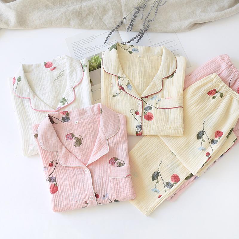 De nouveaux pyjamas simples de printemps ensembles de femmes 100% coton femmes simples japonais vêtements de nuit longue pyjama qualité manches