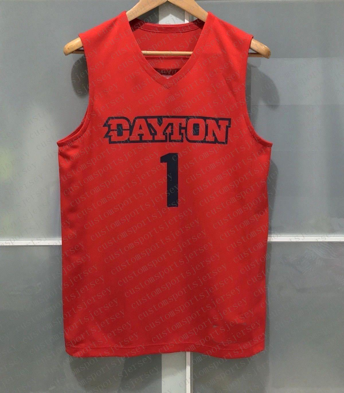 Cheap custom DAYTON FLYERS #1 NCAA MENS BASKETBALL JERSEY RED Stitched Customize any number name MEN WOMEN YOUTH XS-5XL