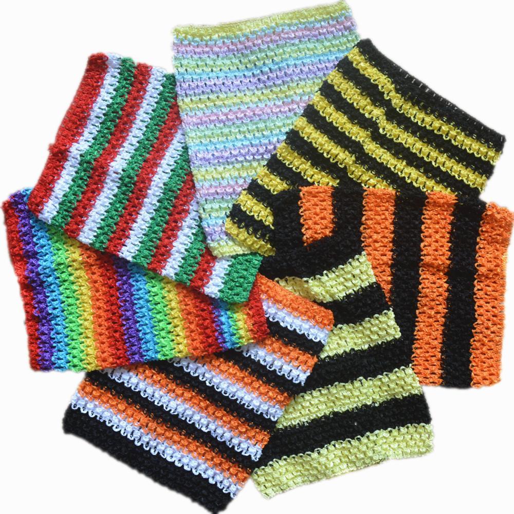 Diy Elbise Saç Aksesuarları Daha Renkli D04 için 10pcs / Lot 9 İnç Kızlar Crochet Delikler Tüp Kuşaklan Waffle Cidarsız