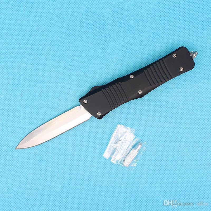 """Naylon Çanta ile Yeni Geliş Oto Taktik Bıçak D2 Çift Kenar Spear Noktası (3.8"""" El Saten) Blade T6061 Siyah Sap Survival bıçaklar"""
