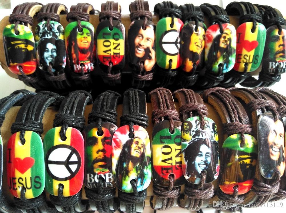 20pcs Bob Marley Bracelets En Cuir Légende Hommes Jamaïque Bracelets Punk Cool Bracelets En Gros HOT Bijoux Beaucoup