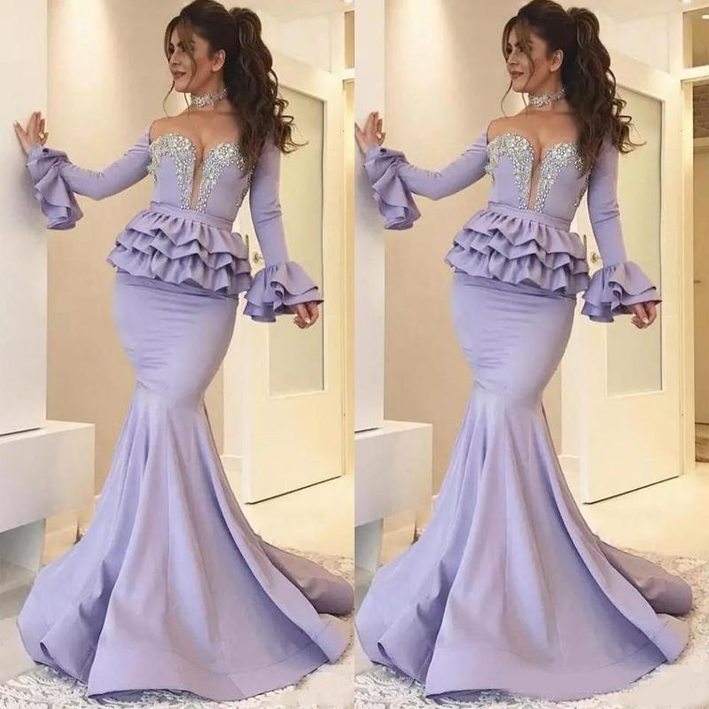 2020 Arabic Mermaid Prom Dresses Long Sleeve Peplum Crystal Beads Floor Length Plus Size Formal Evening Party Vestidos De Festa