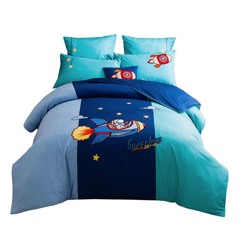 Crianças Cama Sets Rainha Twin tamanho Interstellar Roaming Cotton Boy Double Single jogos de cama DuvetCover Consolador cobertura foguete Imprimir cama Kit