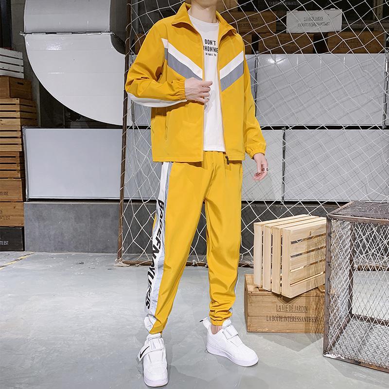 Jacket Primavera e Outono Sports Set Men Casual Mens Fashion Jogger conjunto de duas peças Sportwear Hommes Waterproof Treino HH50TZ