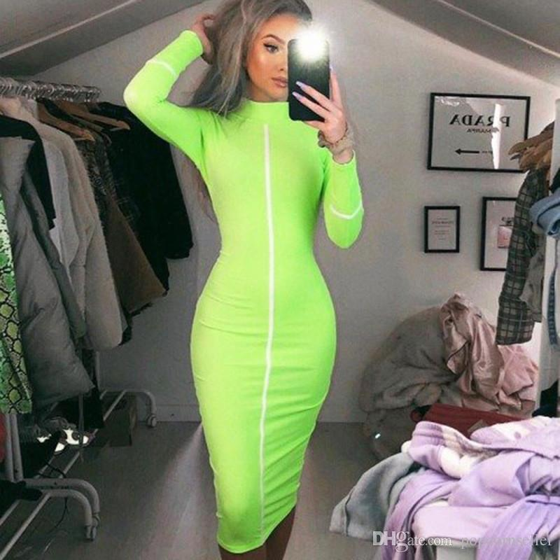 Frauen Designer Sommer Bodycon Kleider beiläufige Langarm Bekleidung Stehkragen Mitte Kalb Herbst Frauen Bekleidung