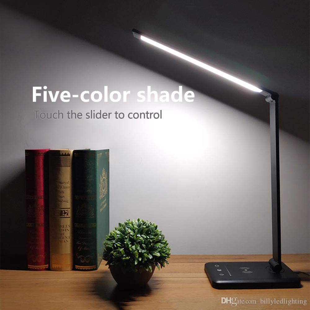 LED Desk Lights Table lamps Folding Dimmable Eye-friendly Reading Lamp with Wireless Desktop Charger USB charging