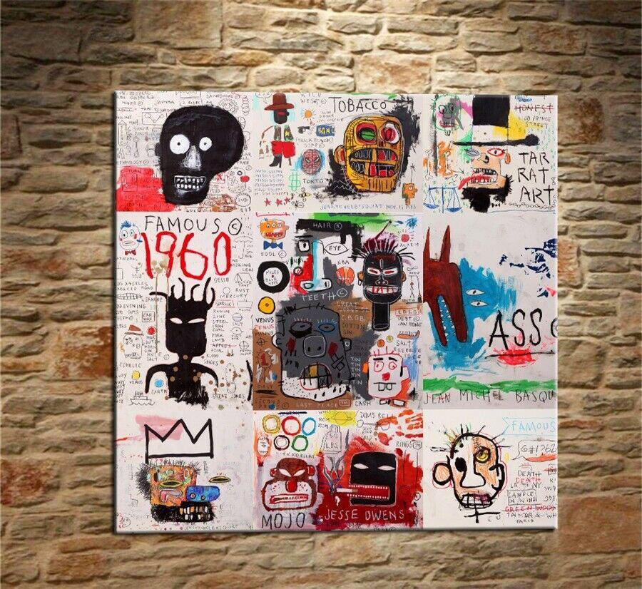 Jean Michel Basquiat Graffiti Art # 17 Decoración Artesanías pintura al óleo sobre lienzo de arte cuadros de la pared de lona 200304