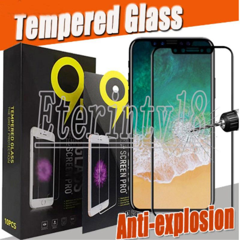 9D Full Cover Tempered Glass Full Glue Screen Protector for iPhone 11 Pro Max XS XR X 8 6 Samsung S10 E A10 A90 Huawei P40 With box