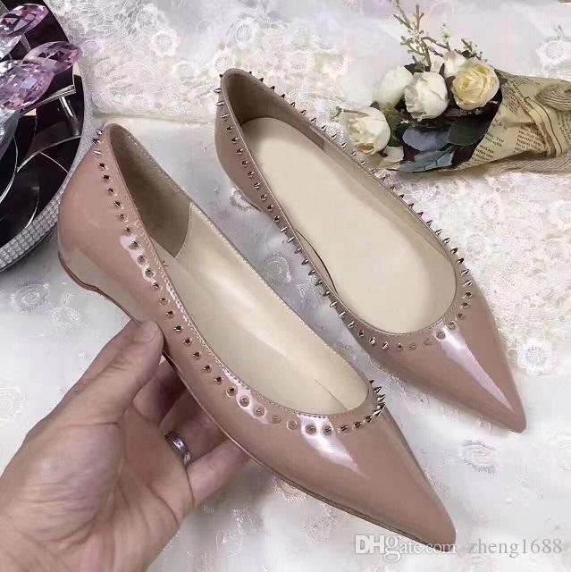 Été confortable Mesdames rouge Chaussures Bas Femmes Point-pieds sandales Chaussures plates, Mode Haute Partie qualité robe de mariage Ballet Flat