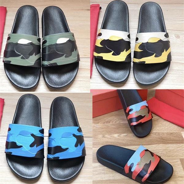 Moda di lusso degli uomini Slipper camuffamento Gomma diapositive esercito verde Donne piatto diapositive sandali di alta qualità scarpe estive Slipper con la scatola