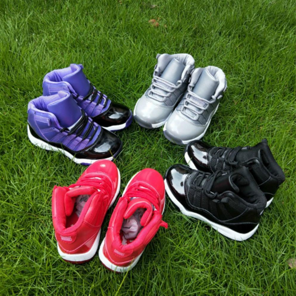Sapatilhas crianças Shoes 11 11s Vermelho Verde Cinza sapatas de basquetebol Crianças Boy Meninas Kids Shoes Formadores Sneakers Toddlers presente de aniversário