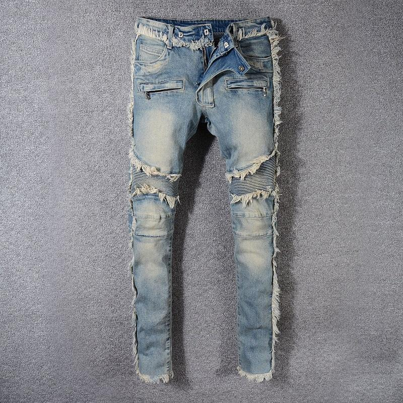 Avrupa ve Amerikan Tarzı Erkek Stretch İnce Kediler Jeans Erkek Moda Sokak Stili Skinny Lokomotif Marka Jeans