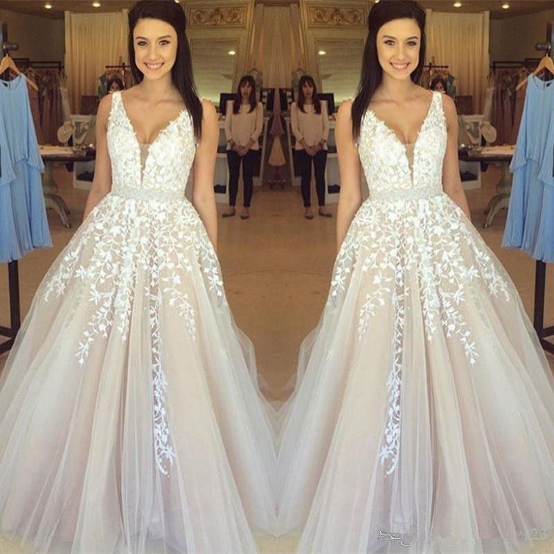 2020 New Gorgeous Sleeveless V-Neck Wedding Dresses Lace Appliques Tulle Online Beading Sash Champagne vestidos noche cortos de fiesta