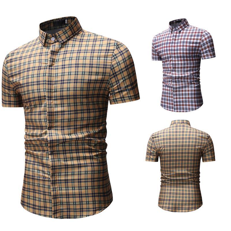 Новый клетчатую рубашку Мужчины Рубашка Ницца Новый летний моды скольжения юбка мужчин клетчатый короткими рукавами одежды