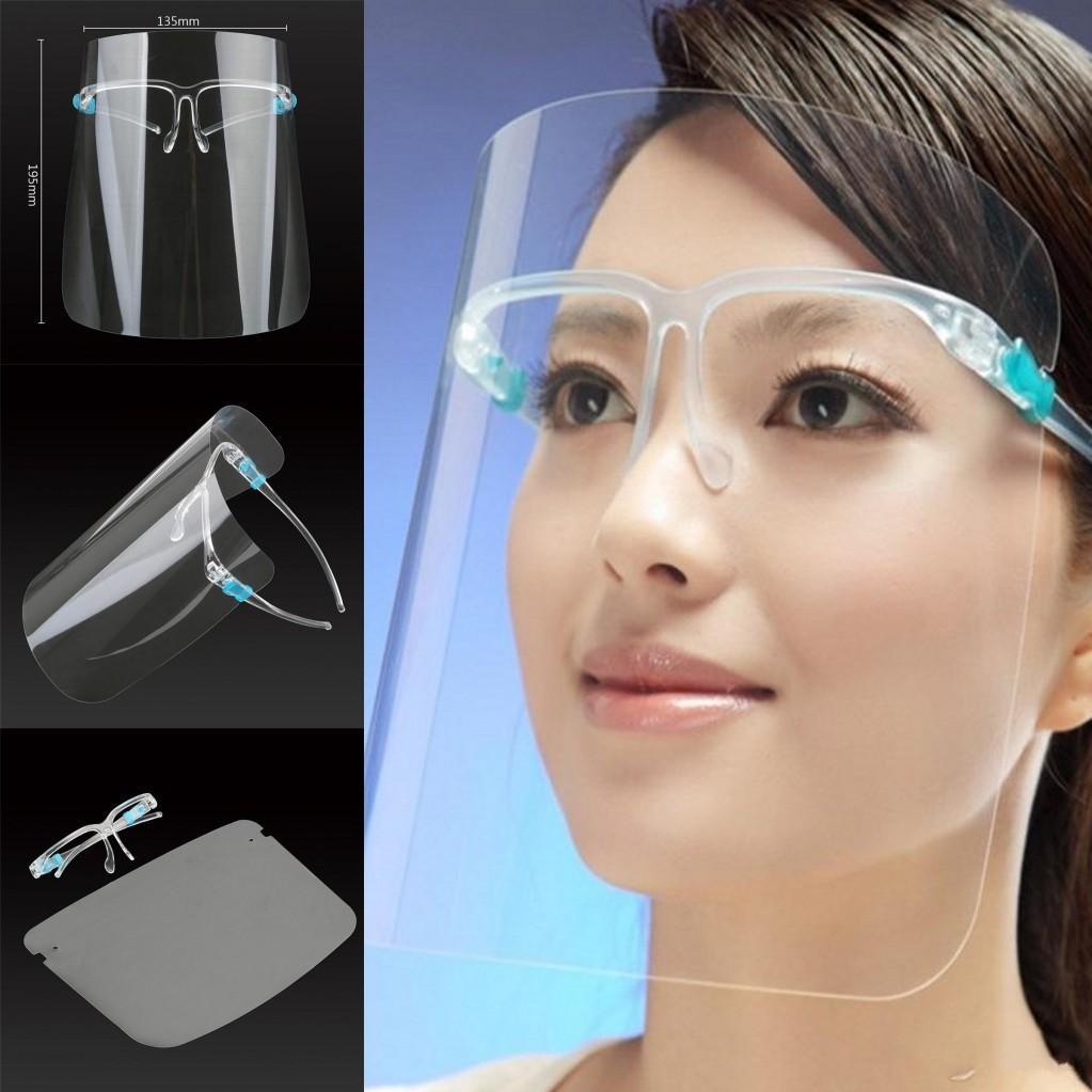 DHL 3-7 дней к США ПЭТ Защитная маска со стеклом Держатель Безопасность Нефть Влагонепроницаемый Anti-UV Защитный чехол для лица Прозрачная Лицевой Glass Mask