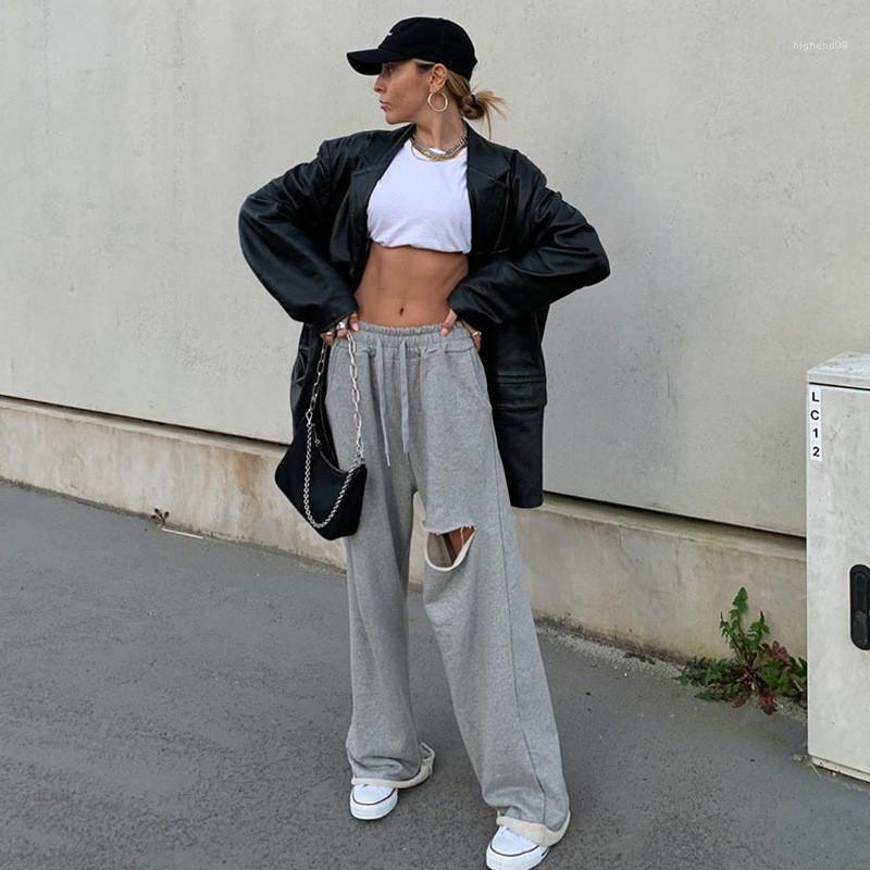Natural Color Mode lose Hosen Ganzkörper beiläufige elastische Taillen-Hosen-Loch-Designer Damen Hose mit weitem Bein