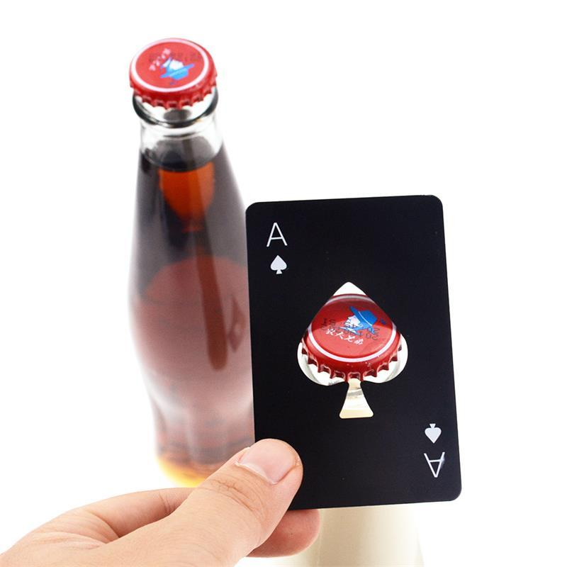 Botella creativa Spade Una tarjeta del póker botella de cerveza abridor de acero inoxidable de plata del partido Negro abridor de decoración accesorios de la barra