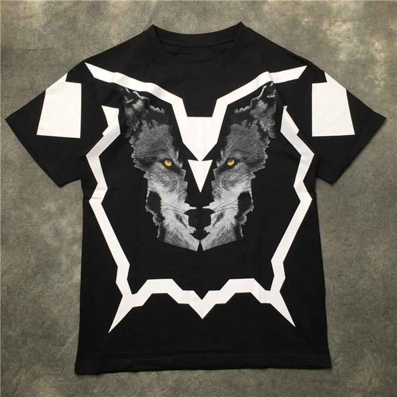 Herren T-Shirt-Qualitäts-Männer Wolf-Kopf-Druck-T-Shirt Männer Frauen Skateboard Hip Hop Short Sleeve Tees S-2XL