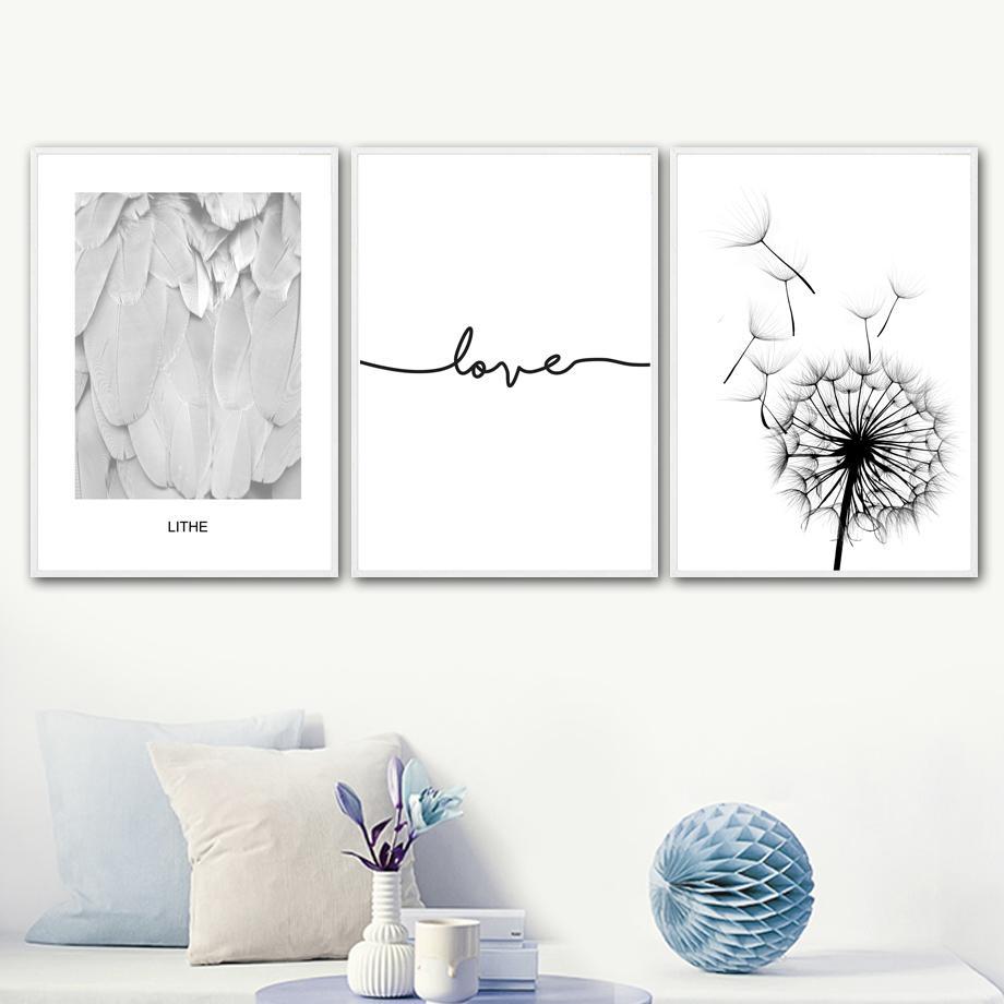 الهندباء الريشة اقتباس الحب جدار الفن قماش اللوحة ملصقات الشمال والمطبوعات أسود أبيض ستريت صور لغرفة المعيشة ديكور