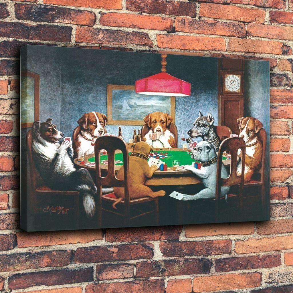 Dogs Playing Poker Home Decor Handpainted &HD Print Oil Painting On Canvas Wall Art Canvas Pictures 200216