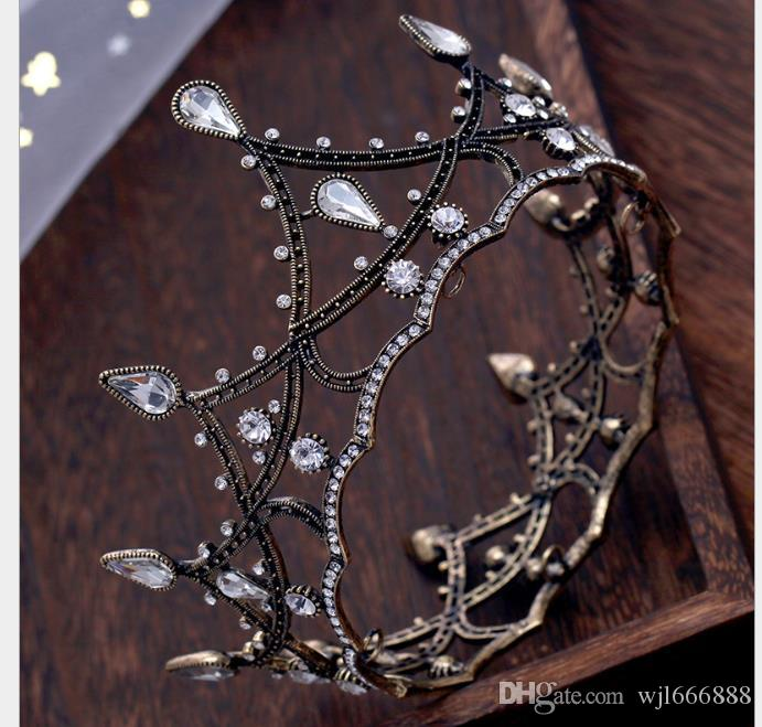 Round Bride Crown Black Whole Ring Headwear Marriage Accessories Wedding Dress Jewelry Movie House Jewelry