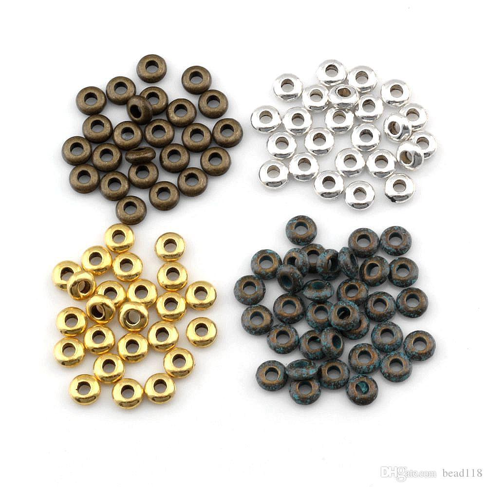 1000ピースの合金の小さな円板スペーサービーズのためのビーズのためのブレスレットのネックレスdiyアクセサリーアンティークシルバーゴールド4色2mmx5mm D-54