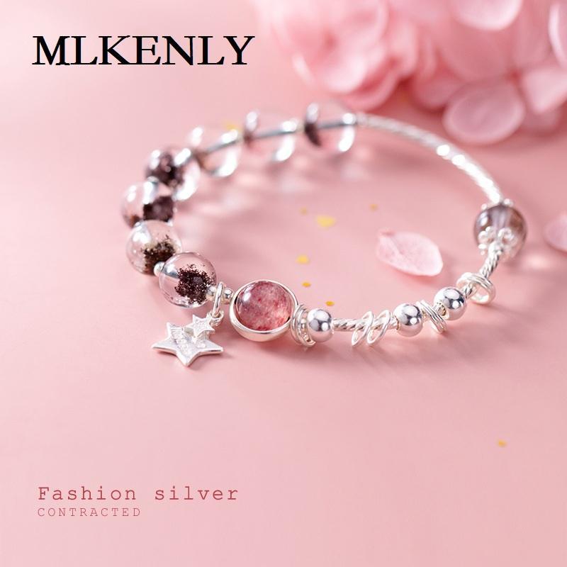 MLKENLY Gioielli in argento sterling 925 Versione coreana d'argento della personalità delle stelle, perline, cuore di ragazza di cristallo di fragola