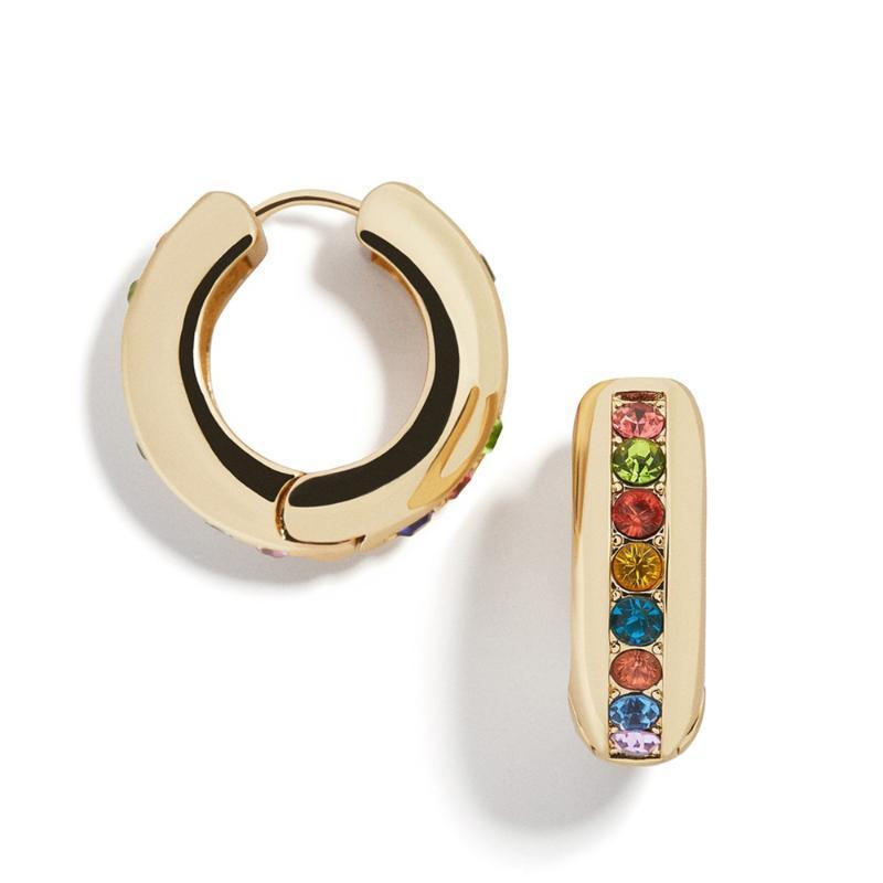Gioielli di moda arcobaleno colorato CZ Huggies gli orecchini dei cerchi per le donne Classic rotondi del cerchio impilabile polsino dell'orecchio degli orecchini 2020