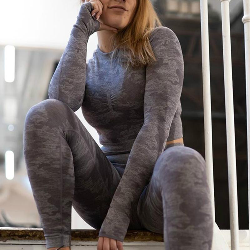Camouflage Set 2PCS женщин Спортивный костюм йога Набор Gym Workout Одежда с длинным рукавом Фитнес Crop Top высокой талией Бесшовные Камо гетры T200115