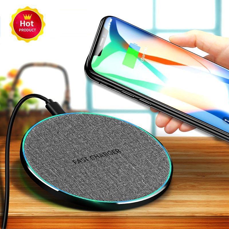Sem fio Carregador de 10W sem fio Pad carregamento rápido de carregamento Adapter Compatível com todos os Qi permitiu telefones telefone inteligente Samsung Galaxy S11 S10