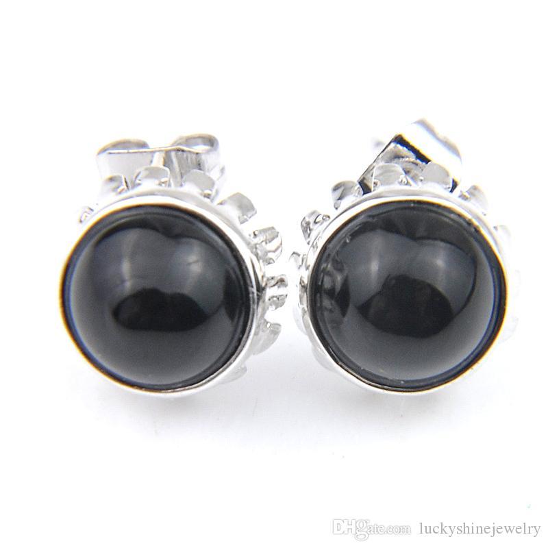 Plata Luckyshine 10 Par simple de la manera 925 para las mujeres Ronda Retro Negro Onyx Pendientes de piedras preciosas