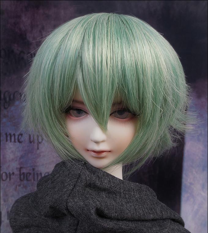 D01-P191 enfants jouet à la main 1/3 Poupée Accessoires BJD / SD perruque de poupée Haute température fil Puffy cheveux courts couleur verte