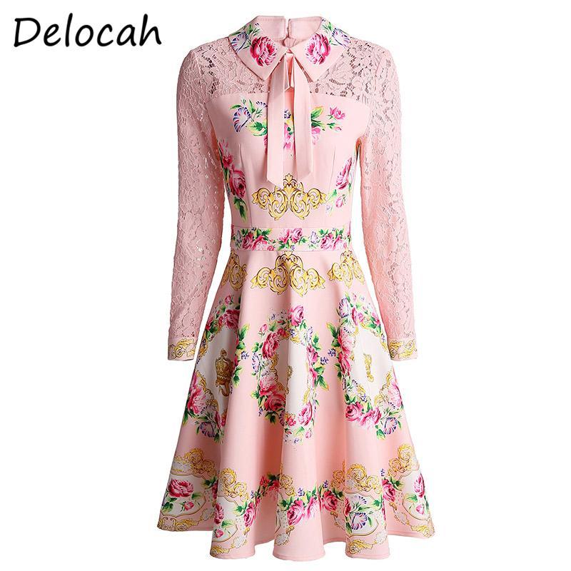 Delocah Primavera-Verão Moda Ruwan Mulheres manga comprida lindo laço floral impresso Elegan Slim A linha de vestidos curtos Vestidos