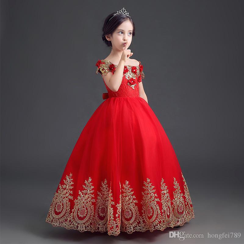 Формальная длина пола Цветочная девушка платье девушка длинная принцесса Brilhday Applique Ball Pown в детские платья