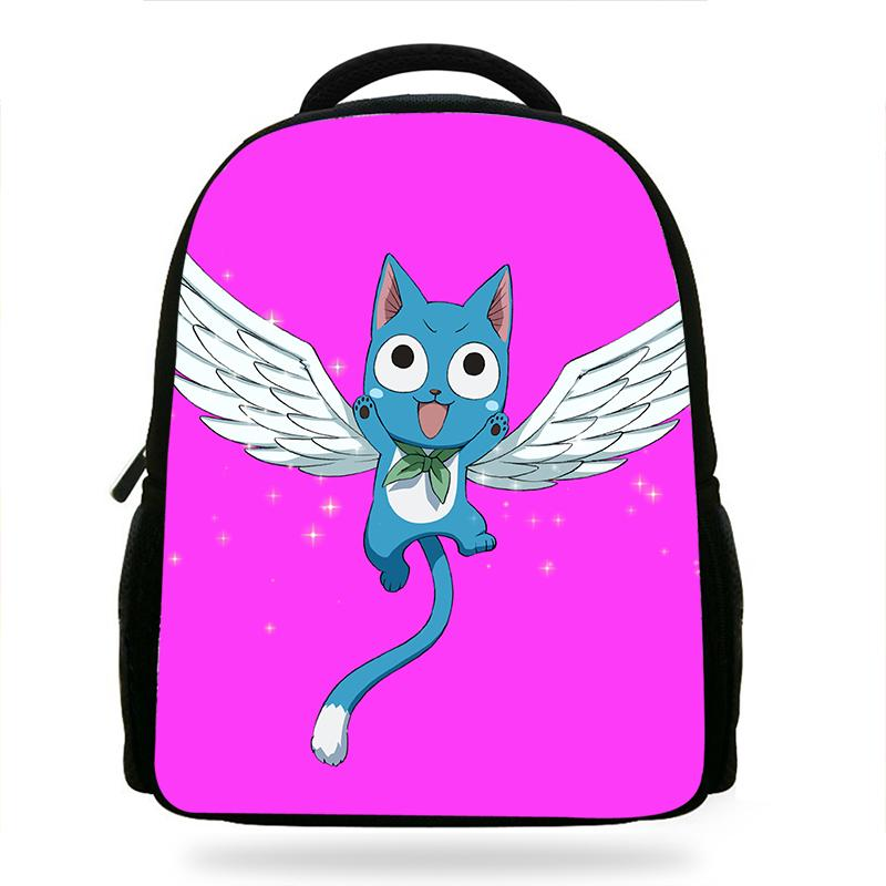 14-Zoll-Kinder Glücklich Fairy Tail Cat Rucksack Mädchen-Karikatur-Kindergarten Rucksäcke Kinderschultaschen Bookbag Corlorful Rucksäcke