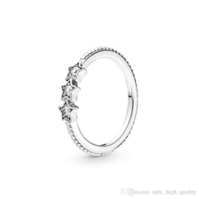 L'originale Argento 925 fai da te di marca tendenza intarsiato stelle con pietre preziose anello squisita, la scultura originale libera di trasporto merci.