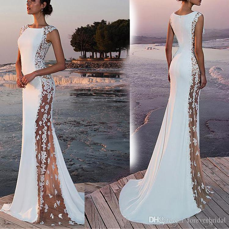 Summer White Bohemian Strand Mermaid Brautkleider 2019 Spitze Satin Jewel-Revers-Brautkleider Sweep Zug-Längen-Nixe-Kleid