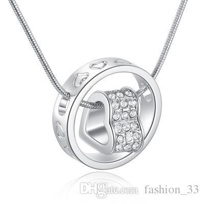 Сердце кулон ожерелье бестселлер серебро и 18k золото ювелирные изделия никель бесплатно горный хрусталь Мода без шеи для женщин YD0077